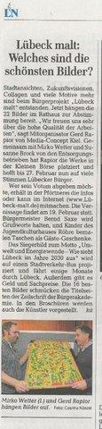 Presseartikel zum Ausstellung Start in der kleinen Börse des Rathauses Lübeck Gerd Rapior Media Concept Mirko Wetter