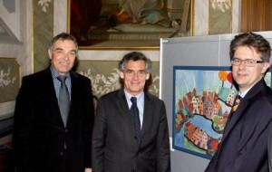 Gerd Rapior und Ingo Hafke begrüßen den Bürgermeister