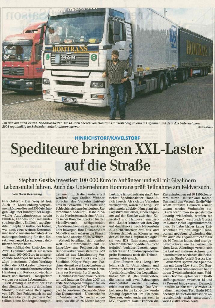 Lang-Lkw Bericht Ostsee-Zeitung