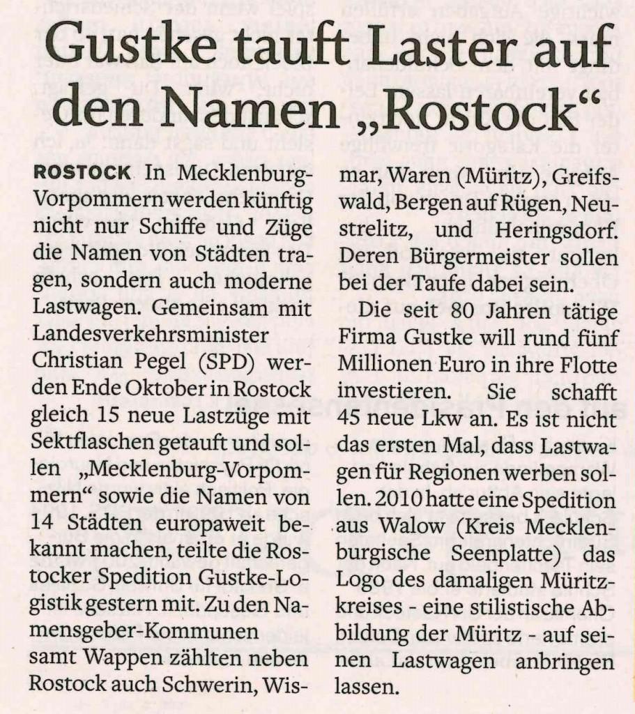 Artikel LKW Taufe Norddeutsche Neuste Nachrihcten