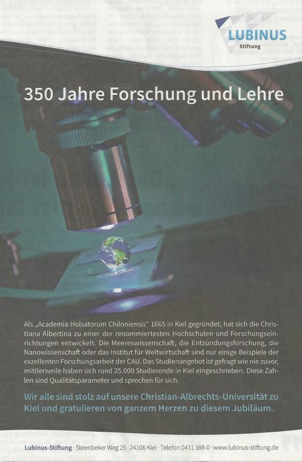 Gerd Rapior Anzeige Kieler Nachrichten Beilage CAU Lubinus Clinicum NDR